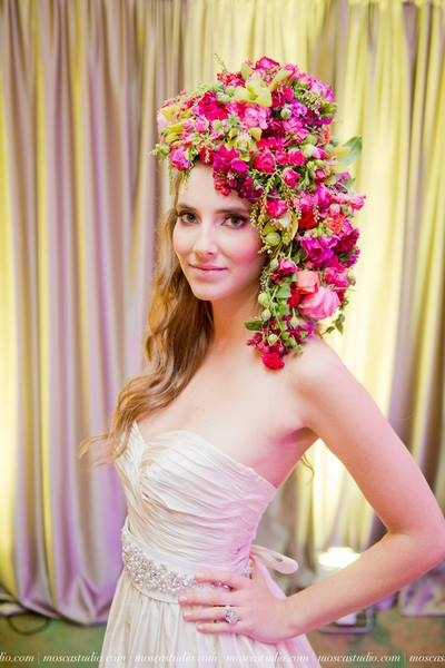botanical headpiece with pink  flowers,Bridal Unveiled 2014 fashion show' Francoise Weeks