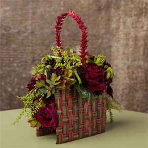 botanical purse with woven draecena leaves, Francoise Weeks