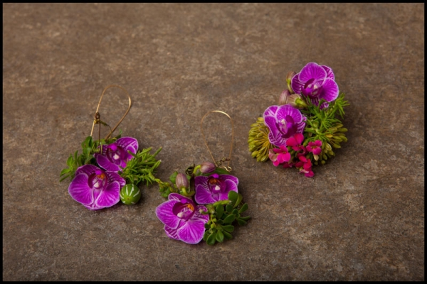 botanical ring and earrings with orchids, Francoise Weeks
