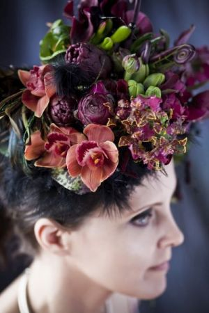 burgundy botanical headpiece, Françoise Weeks