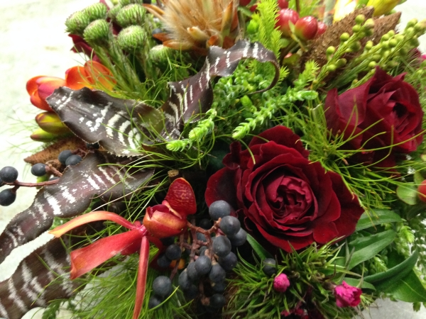 textured burgundy, chocolate and green centerpiece 1, Francoise Weeks
