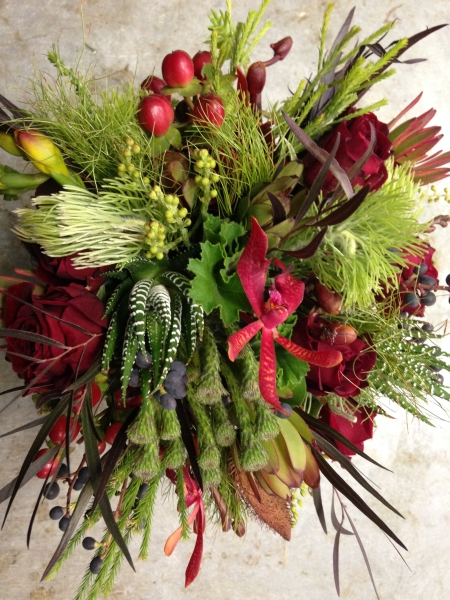 textured burgundy, chocolate and green centerpiece 2, Francoise Weeks