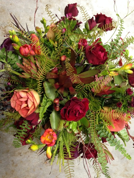 textured burgundy, chocolate and green centerpiece 3, Francoise Weeks