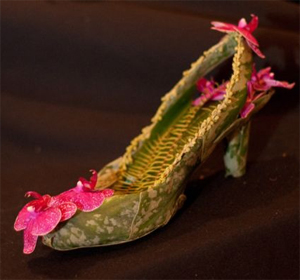 botanical shoe  with orchids and ferns 6, Françoise Weeks