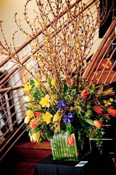 spring arrangement with forsythia, tulips, hyacinths , the Armory, Françoise Weeks