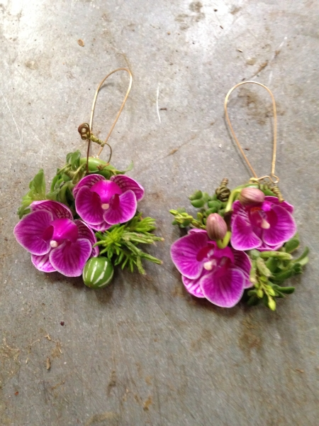 botanical earrings with mini phaelonopsis- photo Ted Mishima