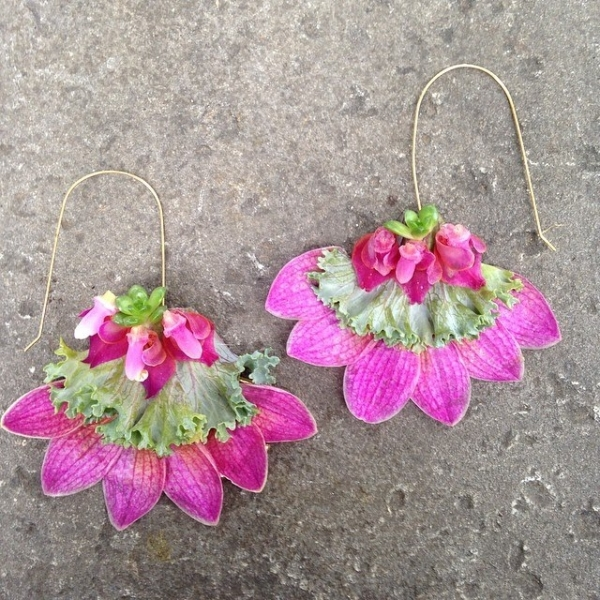 botanical earrings - with phalaenopsis orchids, succulents and kale leaf, Francoise Weeks