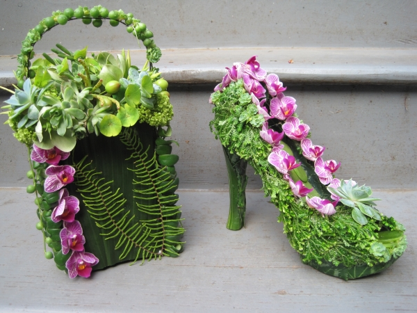 botanical shoe and purse with phaelonopsis orchids and texture, Francoise Weeks