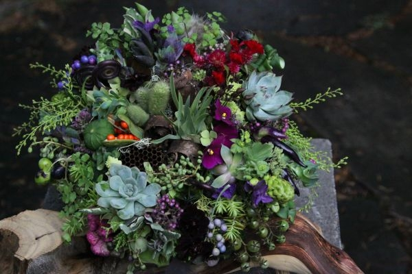 green woodland bridal bouquet with accents of chocolate brown, orange and purple 1, Françoise Weeks