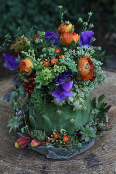 ranunculus, sweetpeas and texture in artichoke, Francoise Weeks