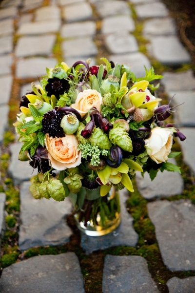Bridal Bouquet with chartreuse, chocolate, burgundy and butter yellow flowers, Francoise Weeks