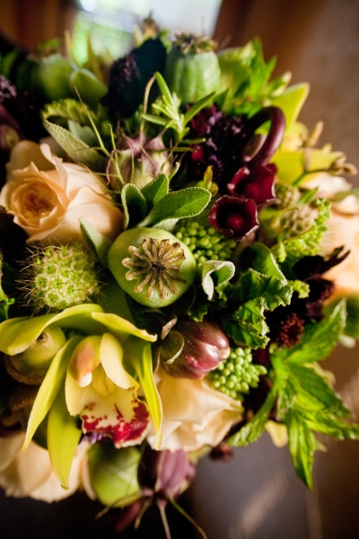 Bridal Bouquet with chartreuse, chocolate, burgundy and butter yellow flowers, detail 1,Francoise Weeks