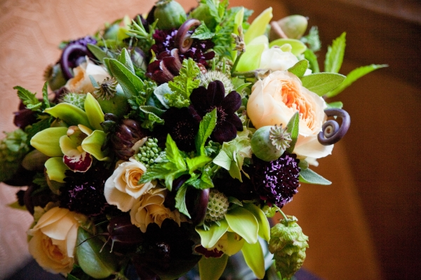 Bridal Bouquet with chartreuse, chocolate, burgundy and butter yellow flowers, detail 2,Francoise Weeks