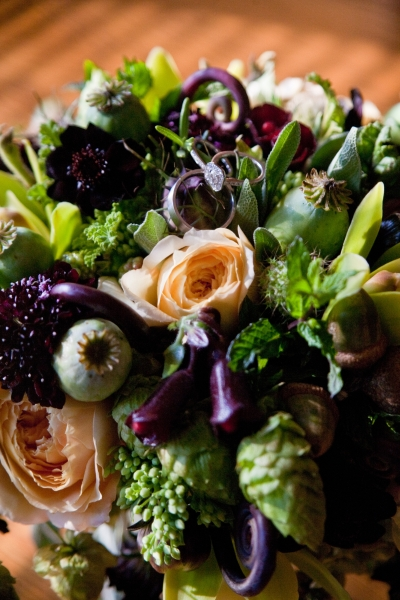 Bridal Bouquet with chartreuse, chocolate, burgundy and butter yellow flowers, detail 3,Francoise Weeks