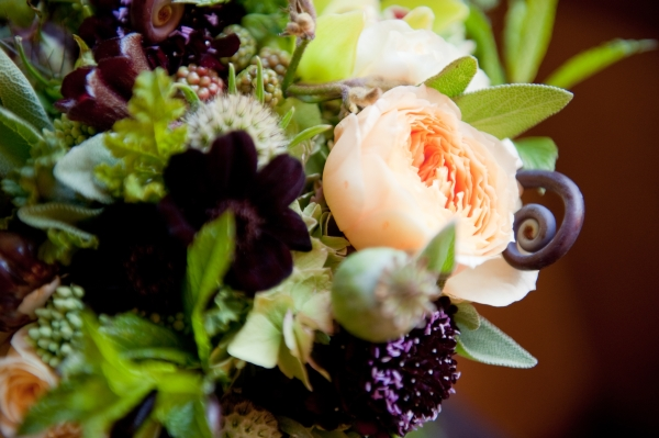Bridal Bouquet with chartreuse, chocolate, burgundy and butter yellow flowers, detail 4,Francoise Weeks