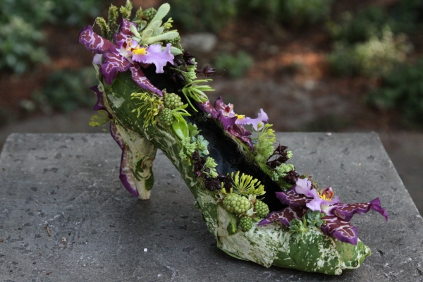 botanical shoe wiith orchids and texture 1, Francoise Weeks