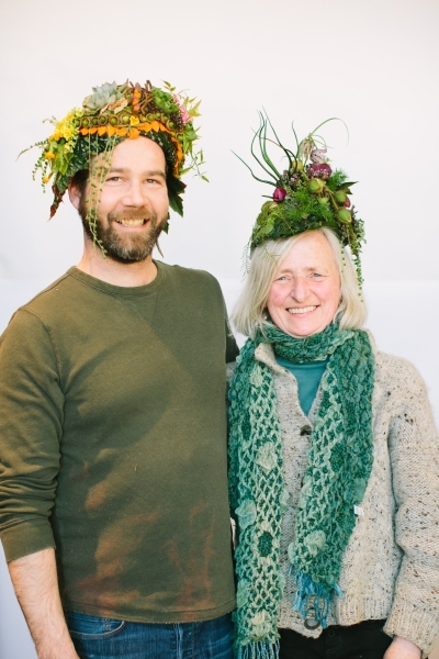 botanical headpiece design Jayson Munn and Francoise Weeks, botanical couture workshop in Vermont, Françoise Weeks