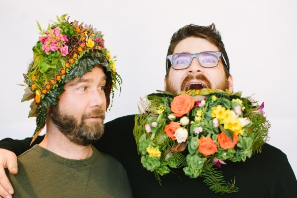 botanical headpiece design Jayson Munn and Mike, botanical couture workshop in Vermont, Françoise Weeks
