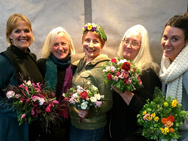 bouquets mde in european bouquet holders, wedding workshop Vermont, Francoise Weeks