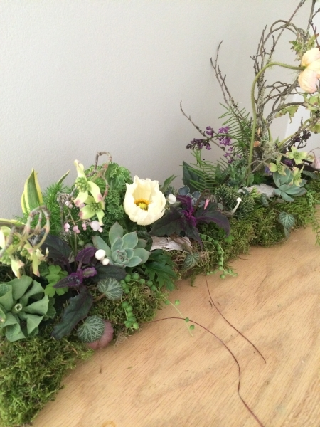 long arrangement, design Meredith Clayton, wedding workshop Vermont, Francoise Weeks