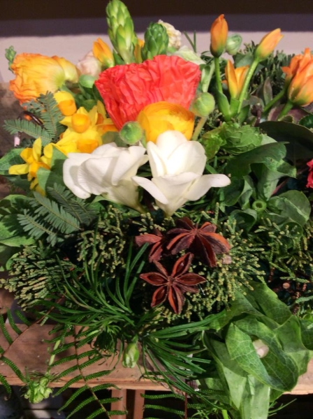 woodland bouquet  designed by Sheila Dever,  wedding workshop Vermont, Francoise Weeks