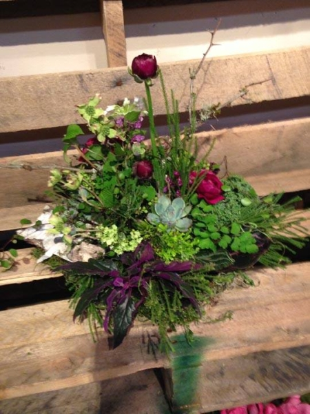 woodland centerpiece, designed by nancy Rabinowitz, wedding workshop Vermont, Francoise Weeks