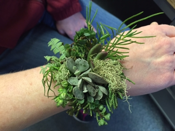 wrist corsage, design Michelle Boleski, wedding workshop Vermont, Francoise Weeks