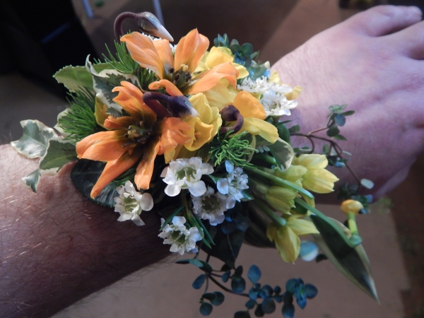 wrist corsage, wedding workshop Vermont, Francoise Weeks