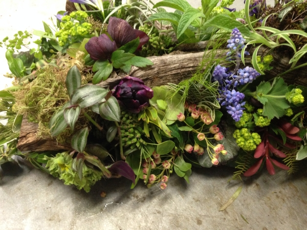 woodland arrangement with muscari, hellebore, enkianthus, primroses, columbine, tulips, maidenhair ferns, poppy pods and textures, 3 Francoise Weeks