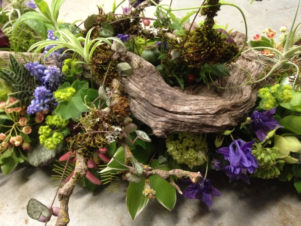 woodland arrangement with muscari, hellebore, enkianthus, primroses, columbine, tulips, maidenhair ferns, poppy pods and textures,4 Francoise Weeks