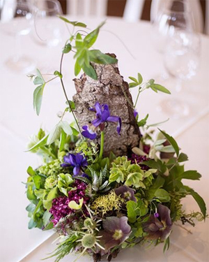 3-woodland centerpiece with pink and purple accent 3, Methven Vineyards, Françoise Weeks