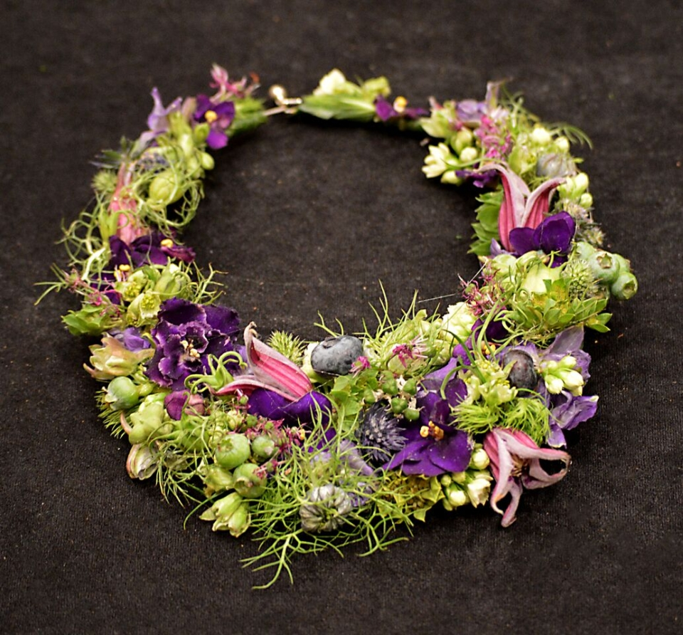 Botanical necklace for demo at FSFA June 2015, Francoise Weeks