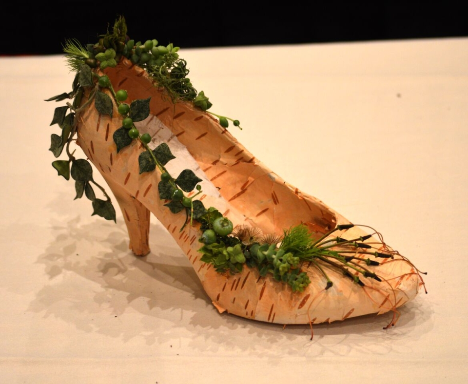 Botanical shoe for demo at FSFA June 2015, Francoise Weeks