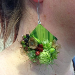 botanical earring 1- with textures, Francoise Weeks