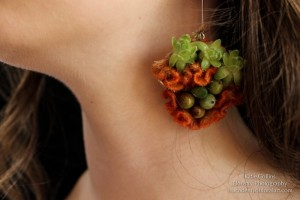 botanical earrings, coxcomb, succulents and textures, Francoise Weeks