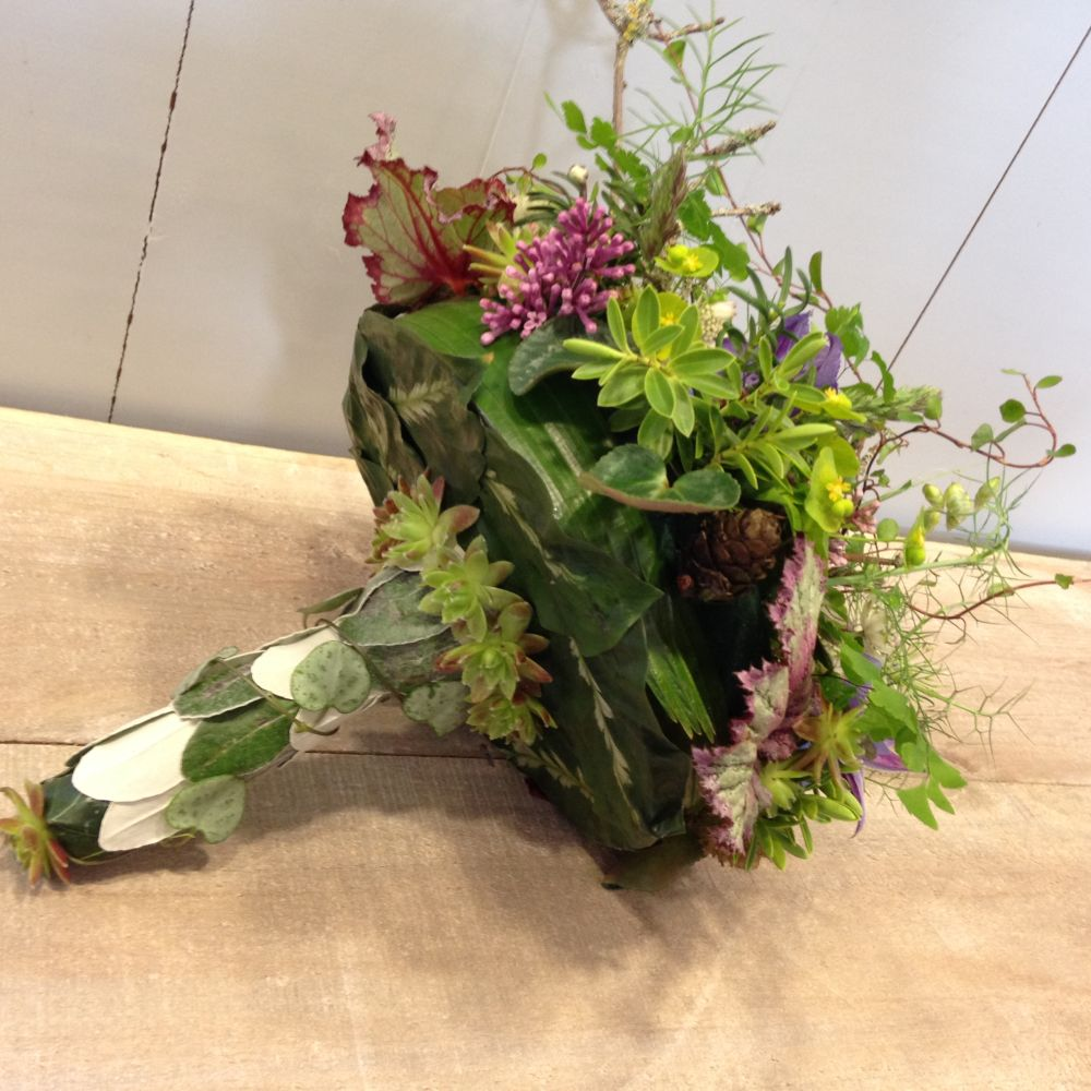 woodland bouquet - design by student 1 underside - workshop in Bury St Edmunds, England, Francoise Weeks