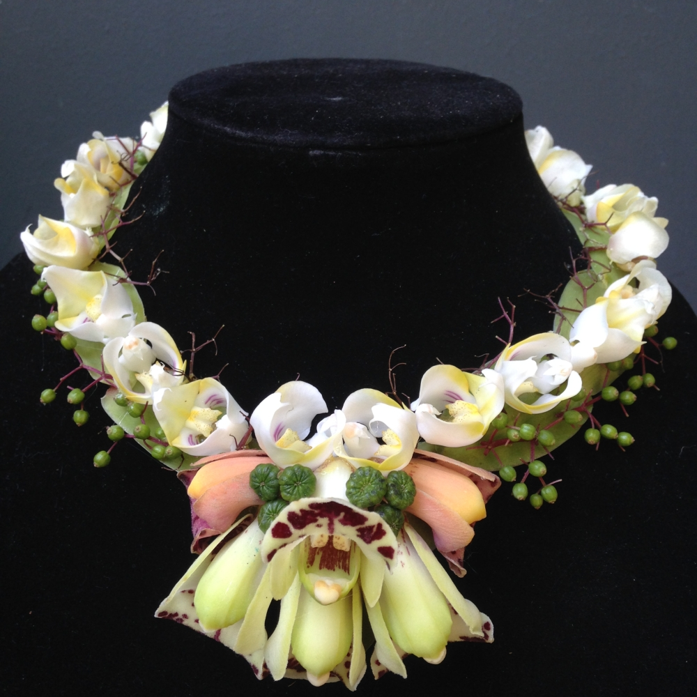 botanical necklace with orchids, Francoise Weeks