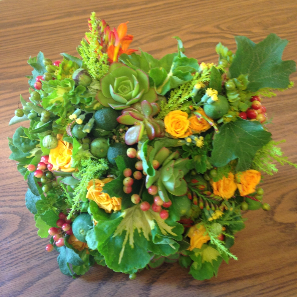 woodland bouquet designed by student 2 during workshop at Filoli in June 2015