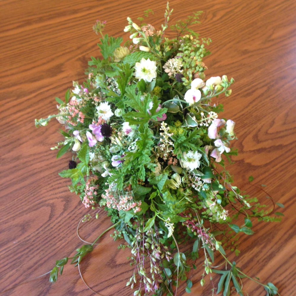 woodland bouquet designed by student  during workshop at Filoli in June 2015