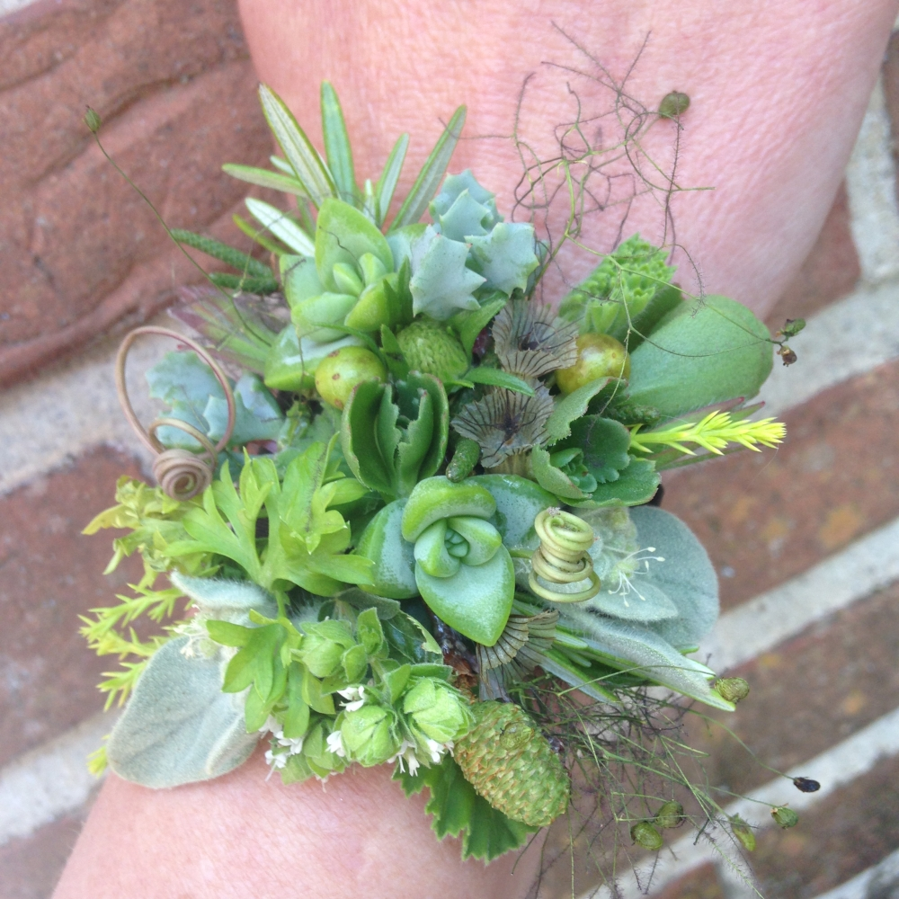 wrist corsage designed by student 1 during workshop at Filoli in June 2015
