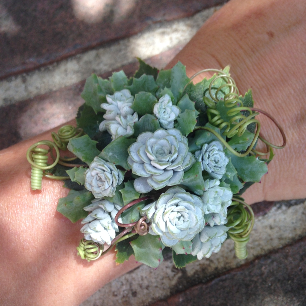 wrist corsage designed by student 2 during workshop at Filoli in June 2015