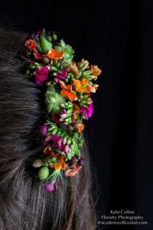 botanical hair comb, kalanchoe, succulents and textures 21, Francoise Weeks