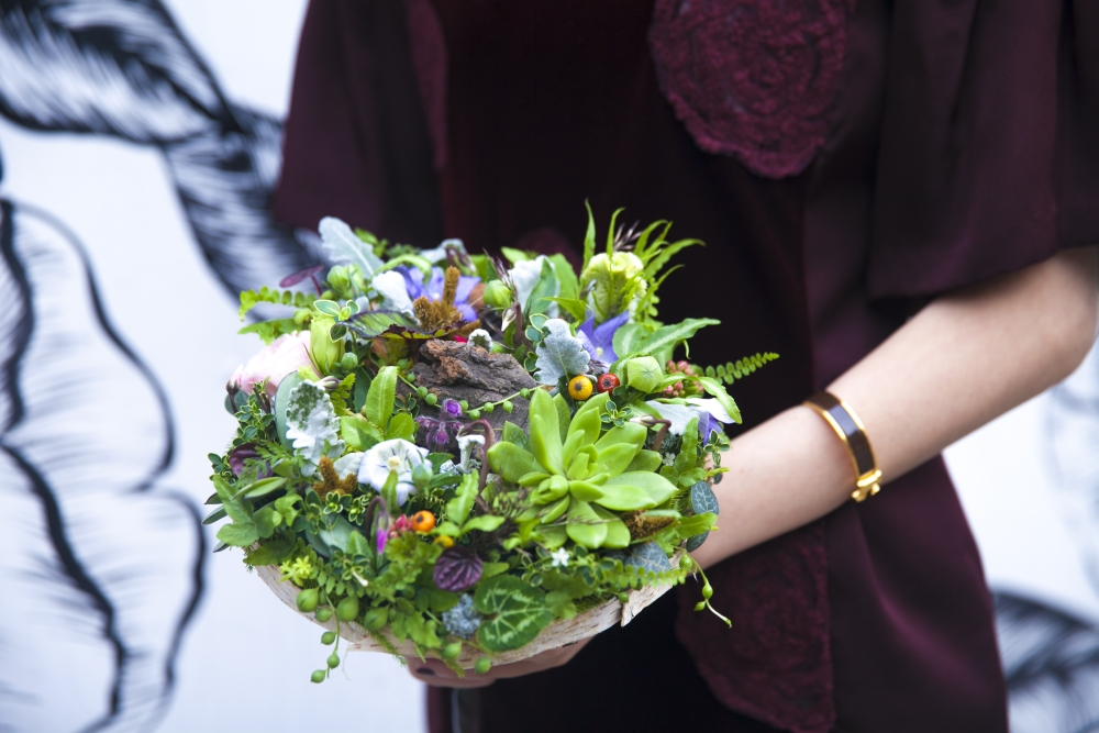 workshop at Cohim day 4 woodland bouquet designed by student