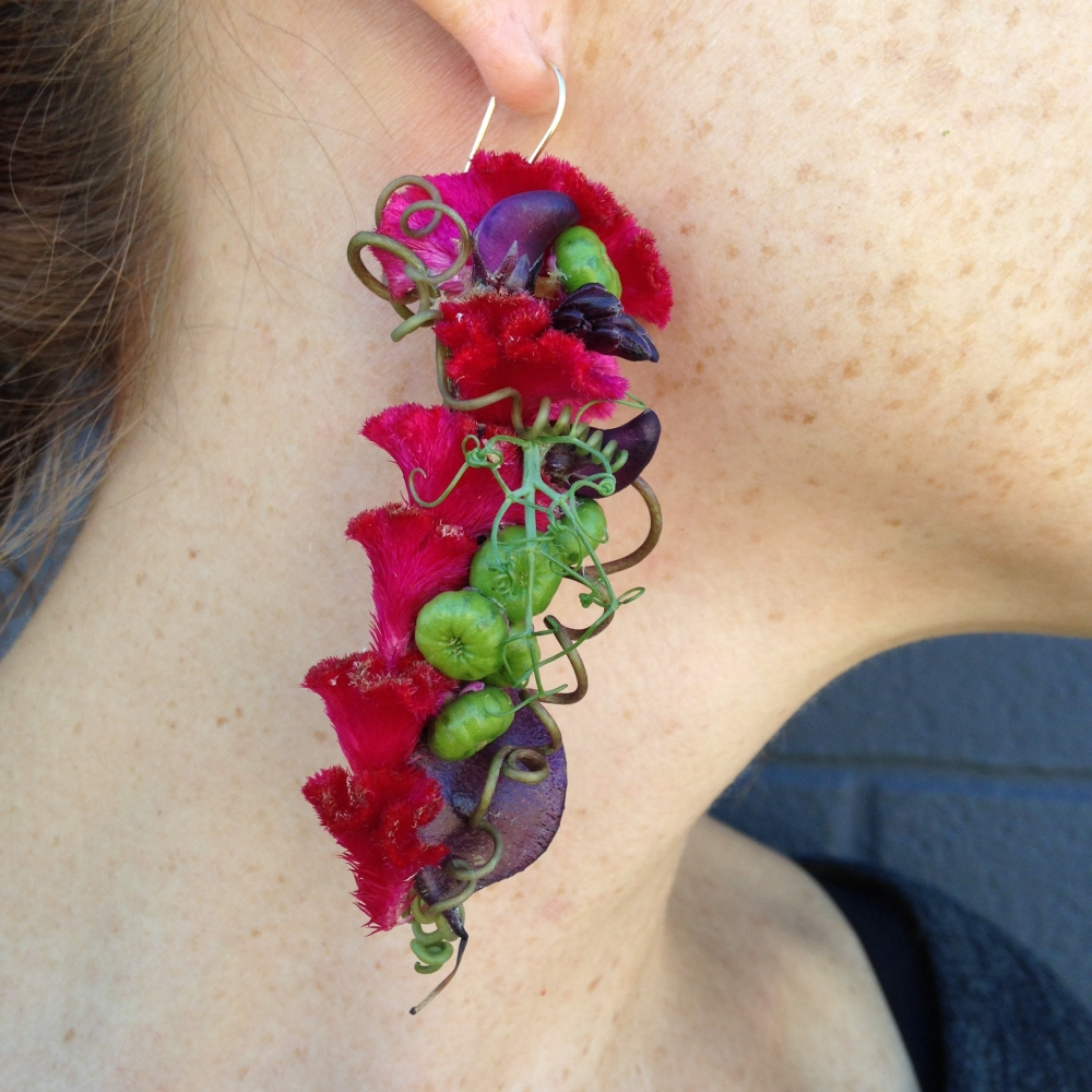 botanical earring for demo for the workshop in Detroit , October 2015
