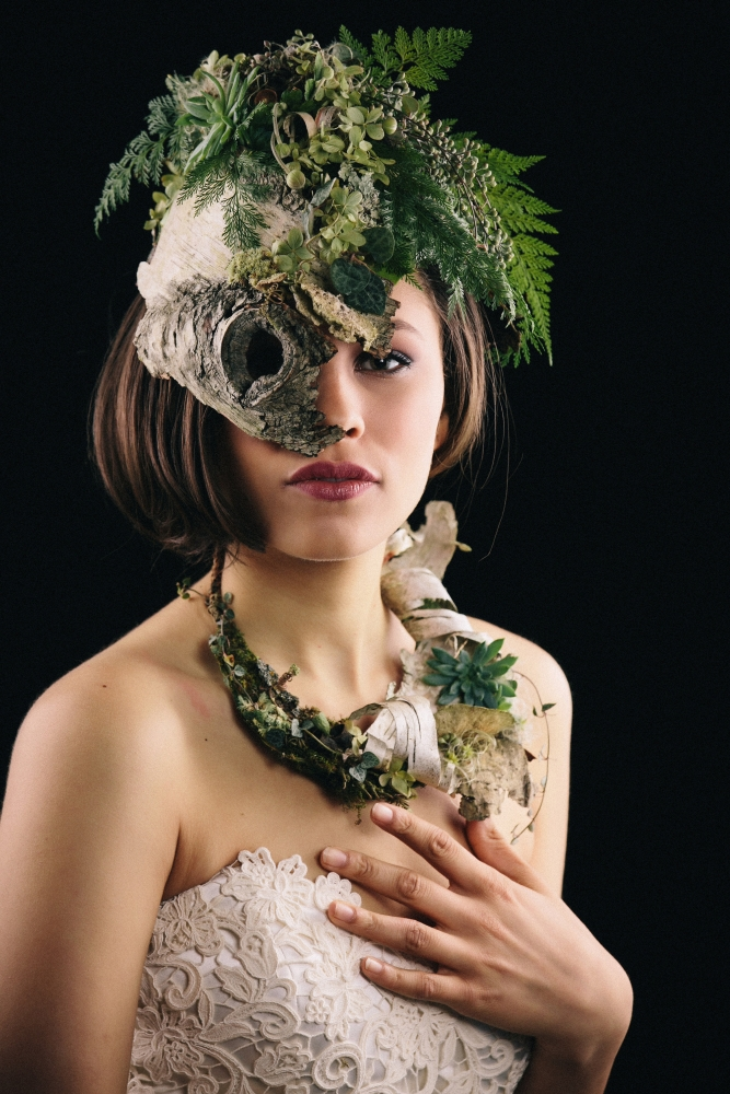 botanical headpiece and necklace designed by student at workshop in Detroit, October 2015