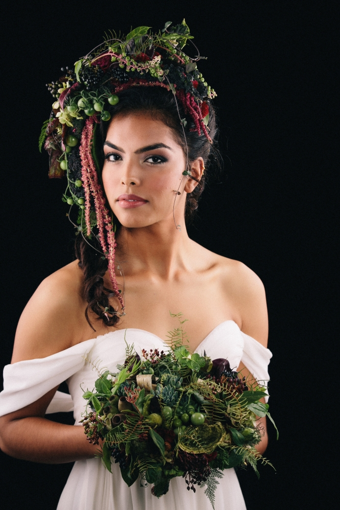 botanical headpiece and woodland bouquet designed by student at workshop in Detroit, October 2015