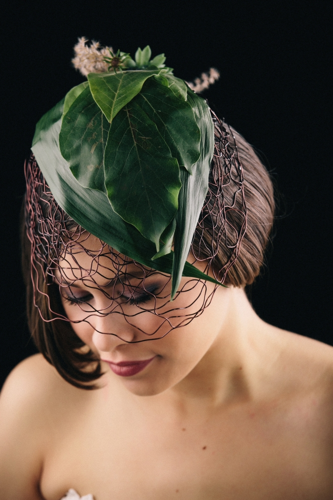 botanical headpiece designed by student at workshop in Detroit, October 2015