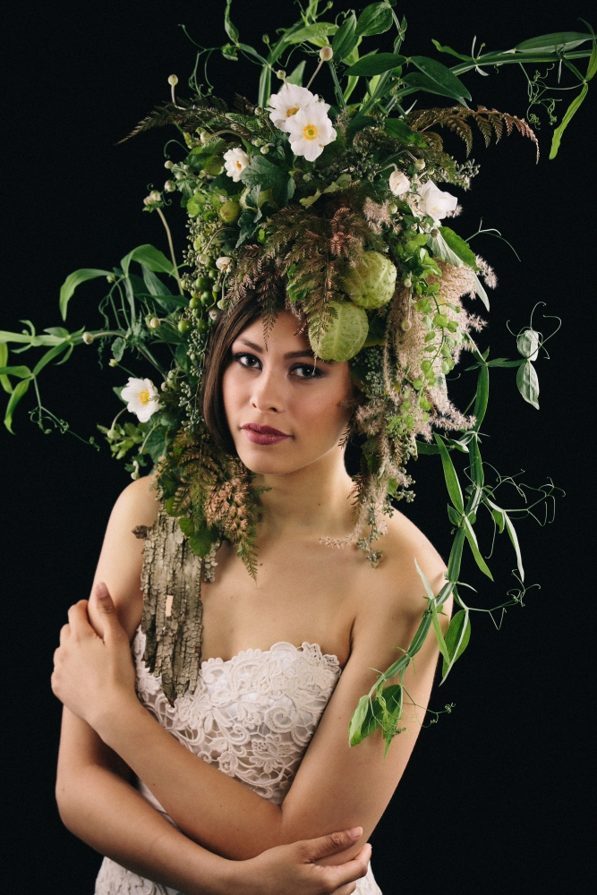 botanicalheadpiece and shoulder pad designed by student at workshop in Detroit, October 2015