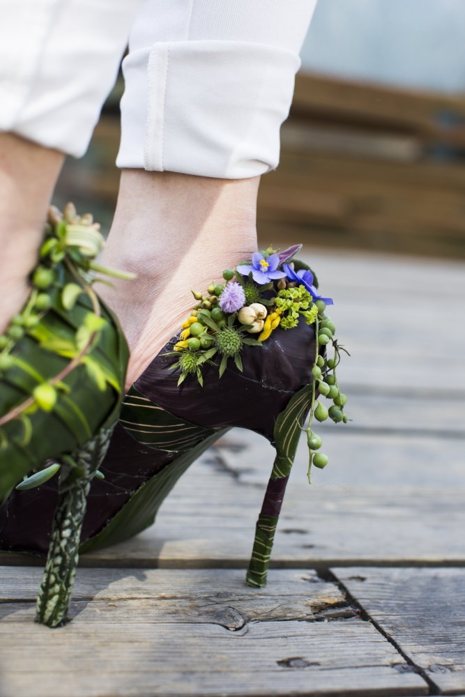botanical shoe designed by student 2, workshop at Cohim , April 2016
