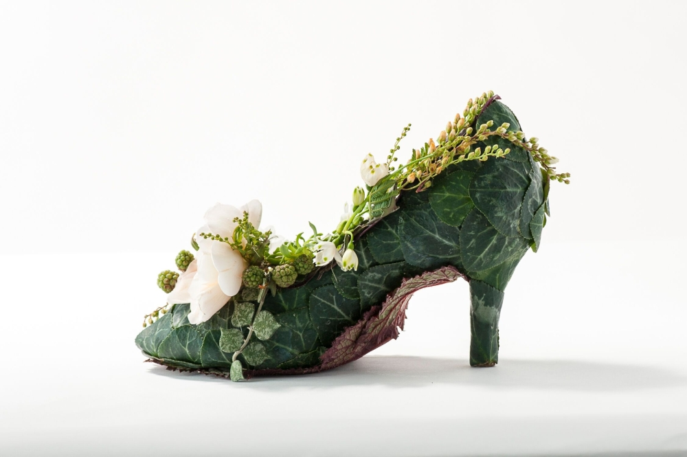 botanical shoe with David Austin Roses, Francoise Weeks